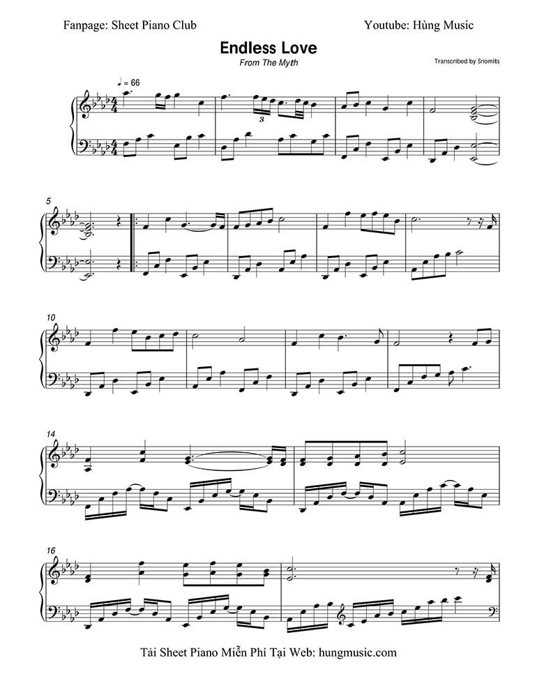 Sheet nhạc piano Endless Love | The Myst OST