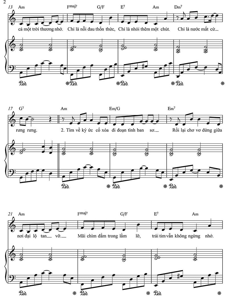 Sheet nhạc piano Hoa nở không màu | Hoài Lâm