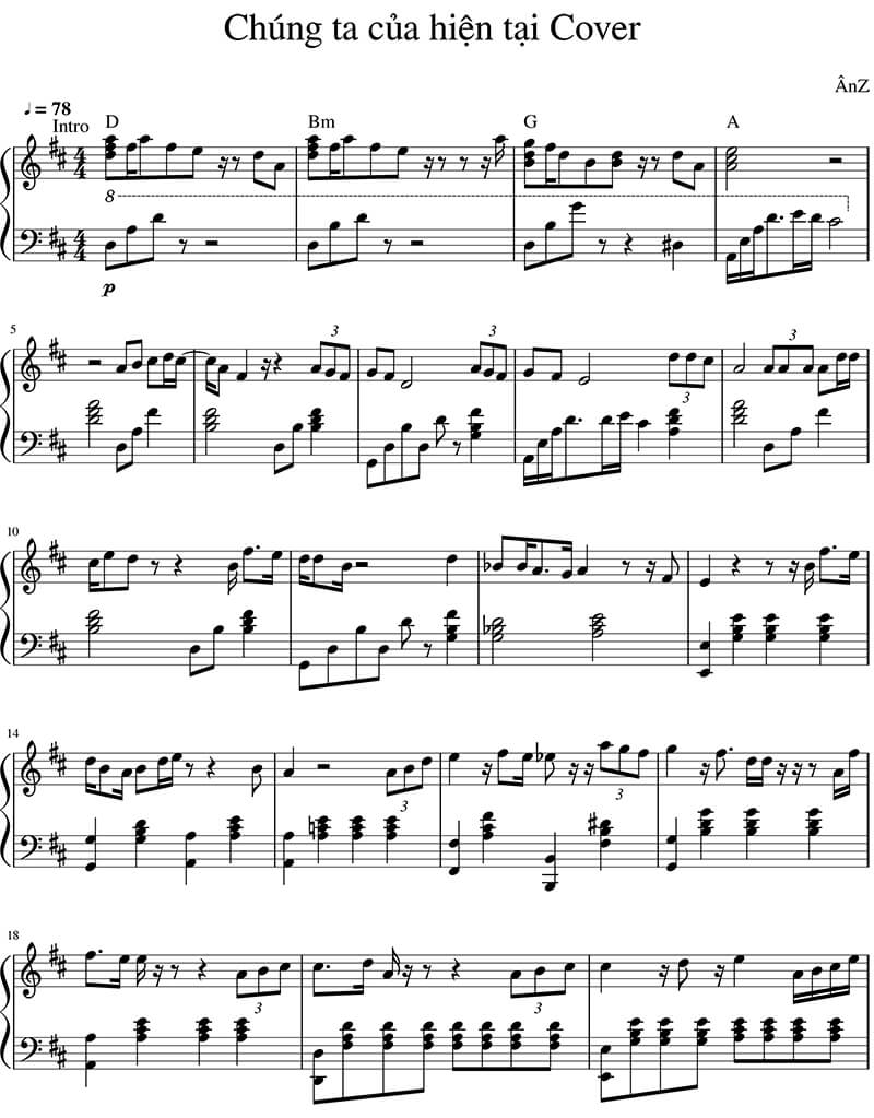 Sheet nhạc piano Chúng ta của hiện tại | Sơn Tùng MTP