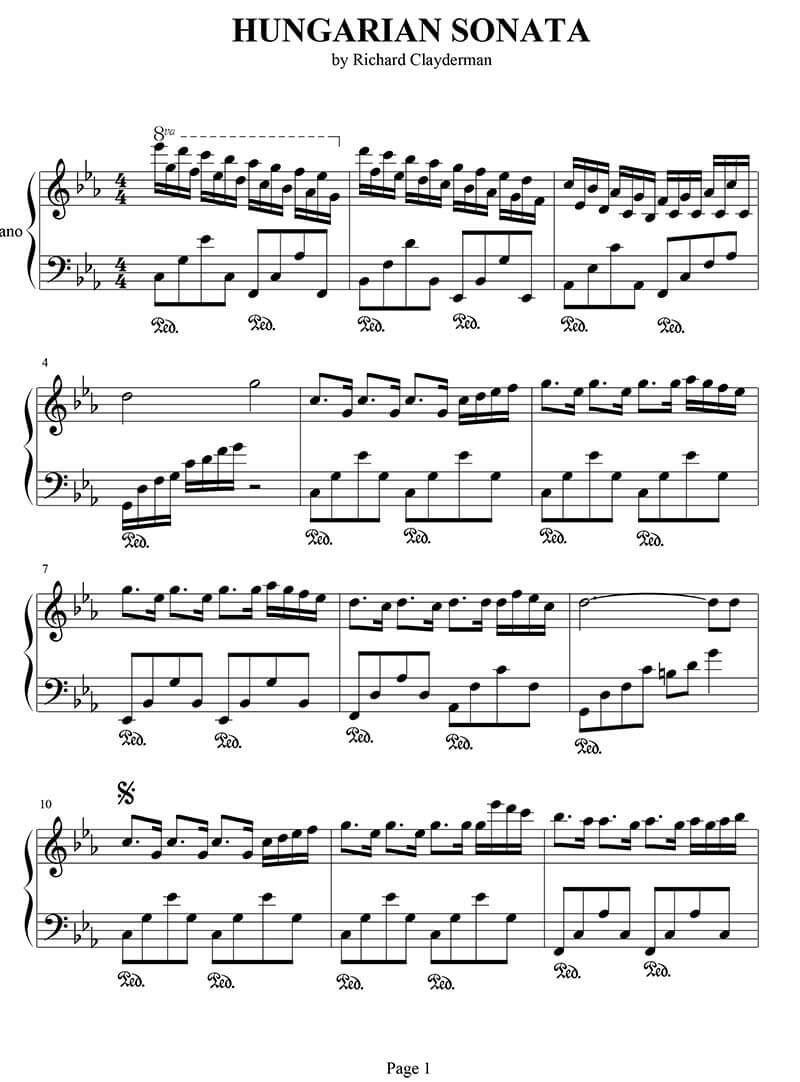 Hungarian Sonata piano sheet