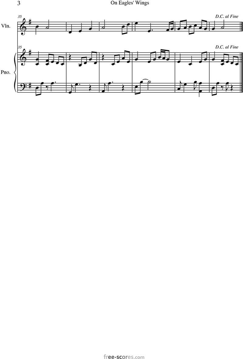 On eagles wings sheet music Piano & Violin   Michael Joncas