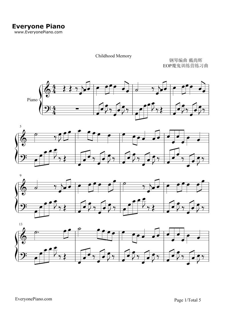 Sheet nhạc piano Childhood Memory | Bandari