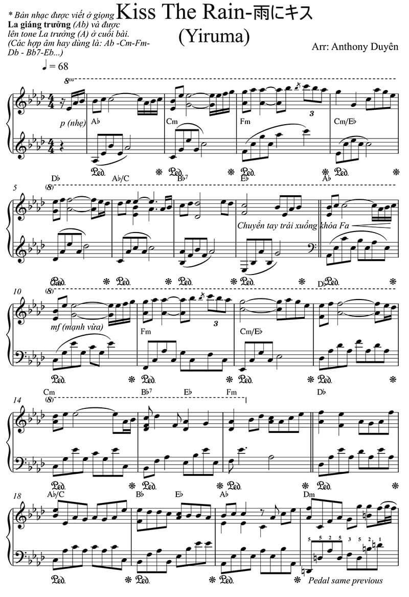 Sheet nhạc piano Kiss the rain | Yiruma