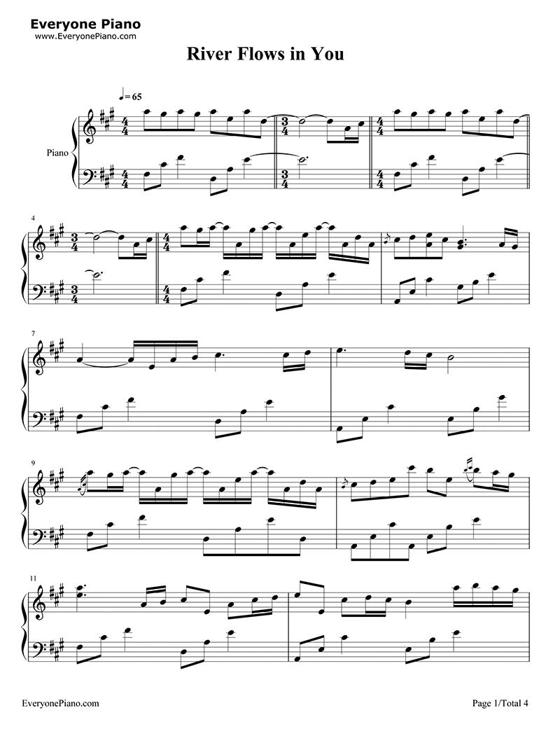 Sheet nhạc piano River flows in you | Yiruma