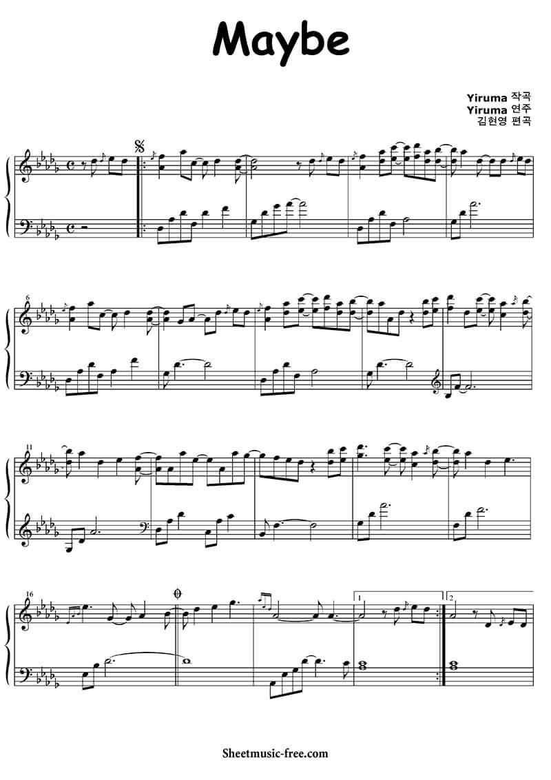 Sheet piano May be | Yiruma
