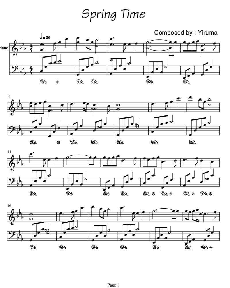 Sheet piano Spring time | Yiruma