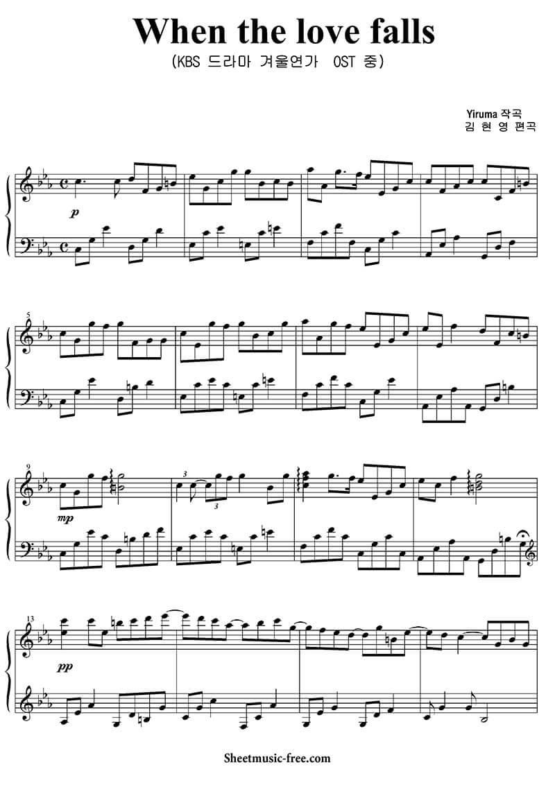 Sheet piano When the love falls | Yiruma
