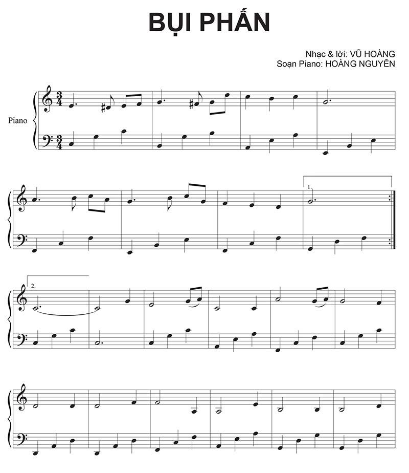 Sheet nhạc piano Bụi Phấn