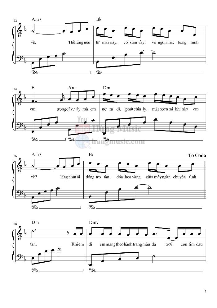 Sheet nhạc piano Hoa Hải Đường | Jack