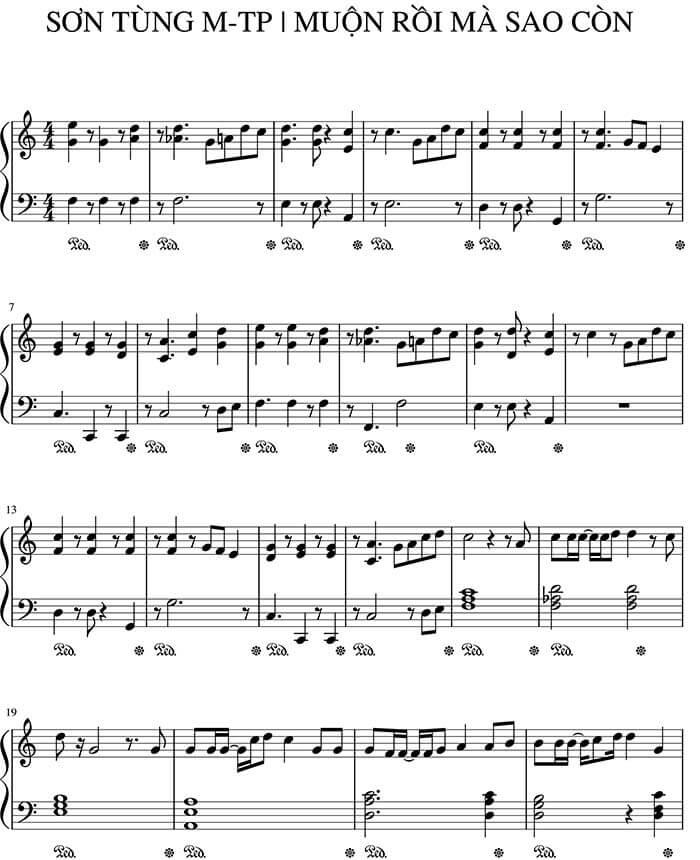 Sheet nhạc piano Muộn rồi mà sao còn | Sơn Tùng MTP