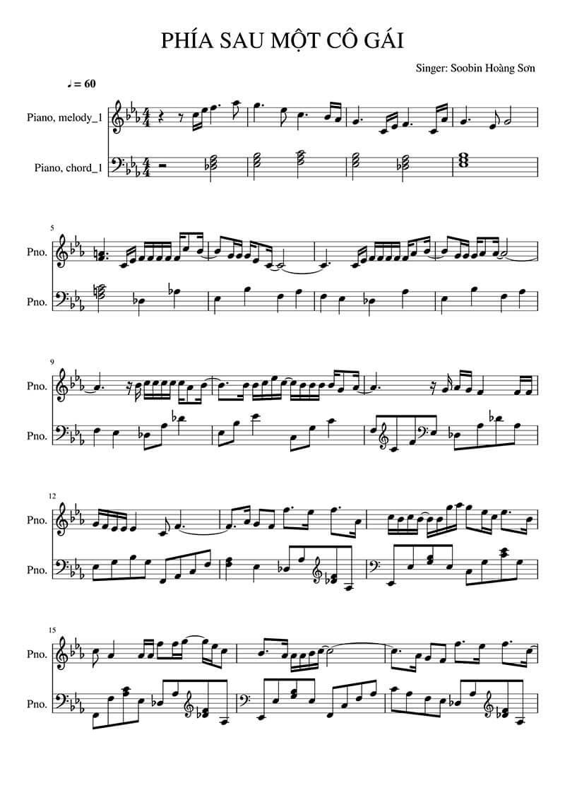Sheet nhạc piano Phía sau một cô gái | Soobin Hoàng Sơn