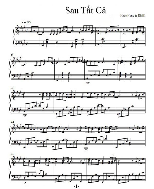Sheet nhạc piano Sau tất cả | Erik